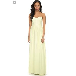 Parker pale yellow strapless maxi dress